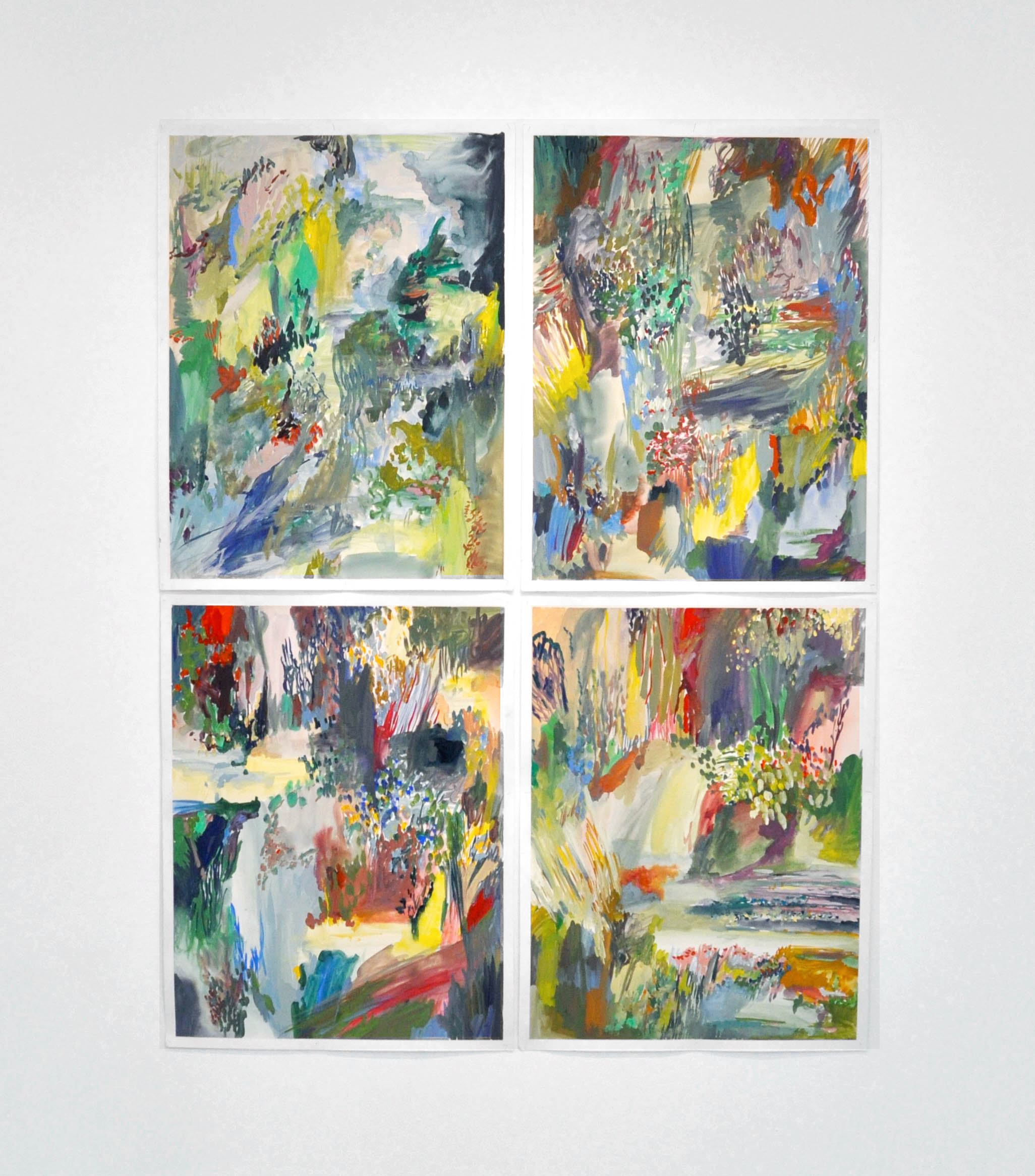 English gardens , 2012 gouache and acrylic on paper, series of 5 50 x 65 cm each