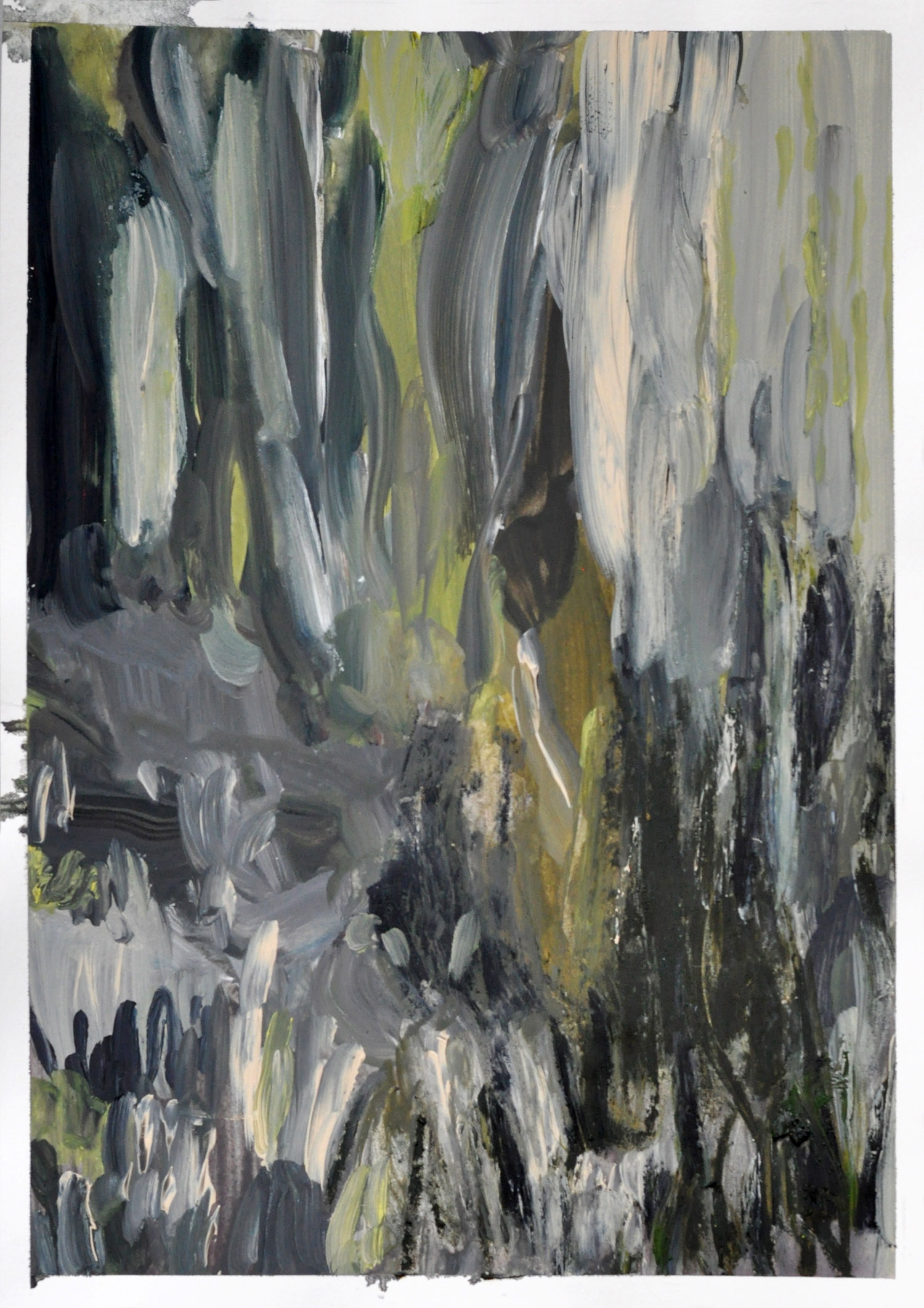Falls , 2014   gouache and oil on paper 21 x 29,7 cm   private collection