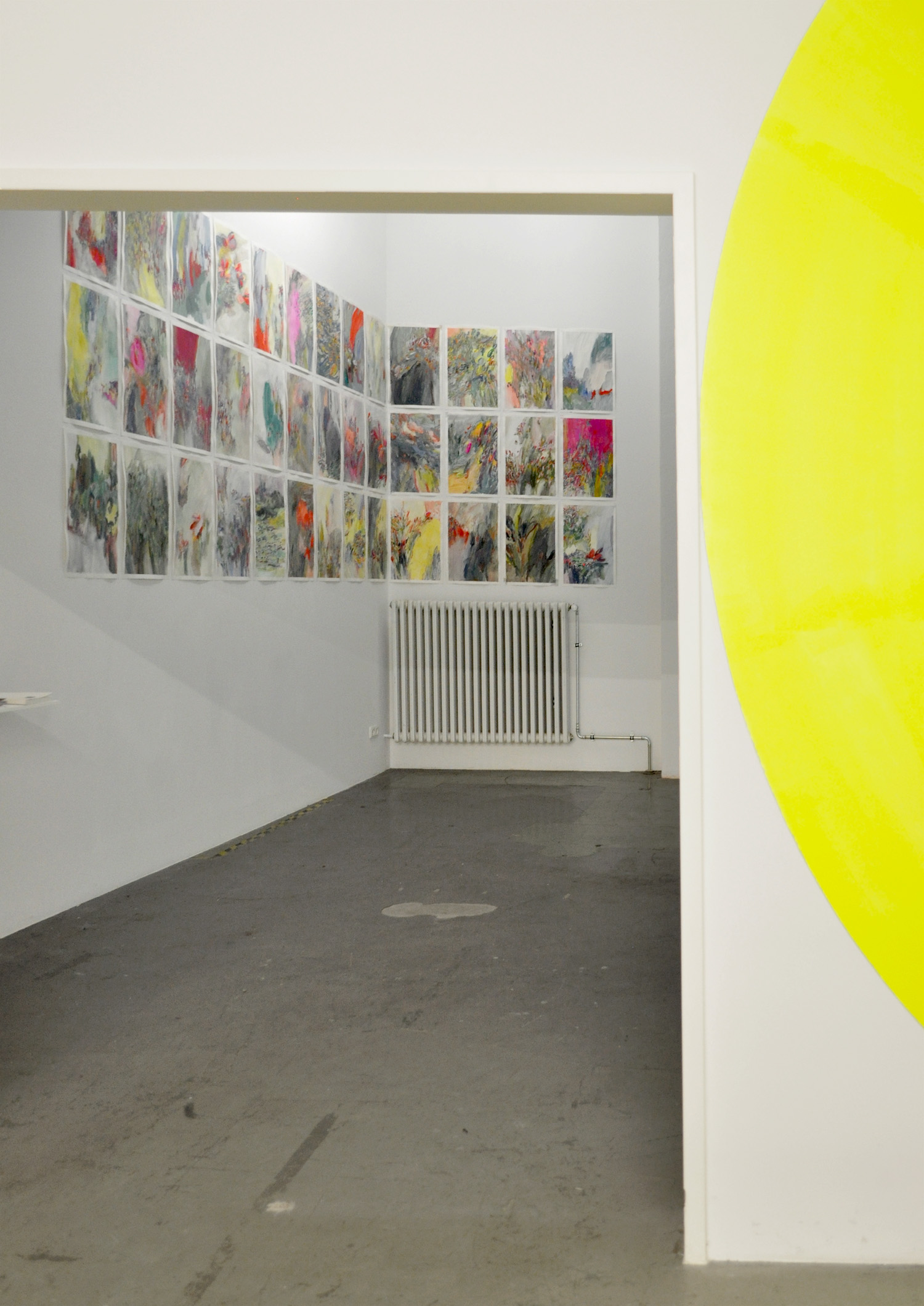 installation view, Studio Jeppe Hein, Berlin, 2013  (yellow circle by Jeppe Hein Studio)