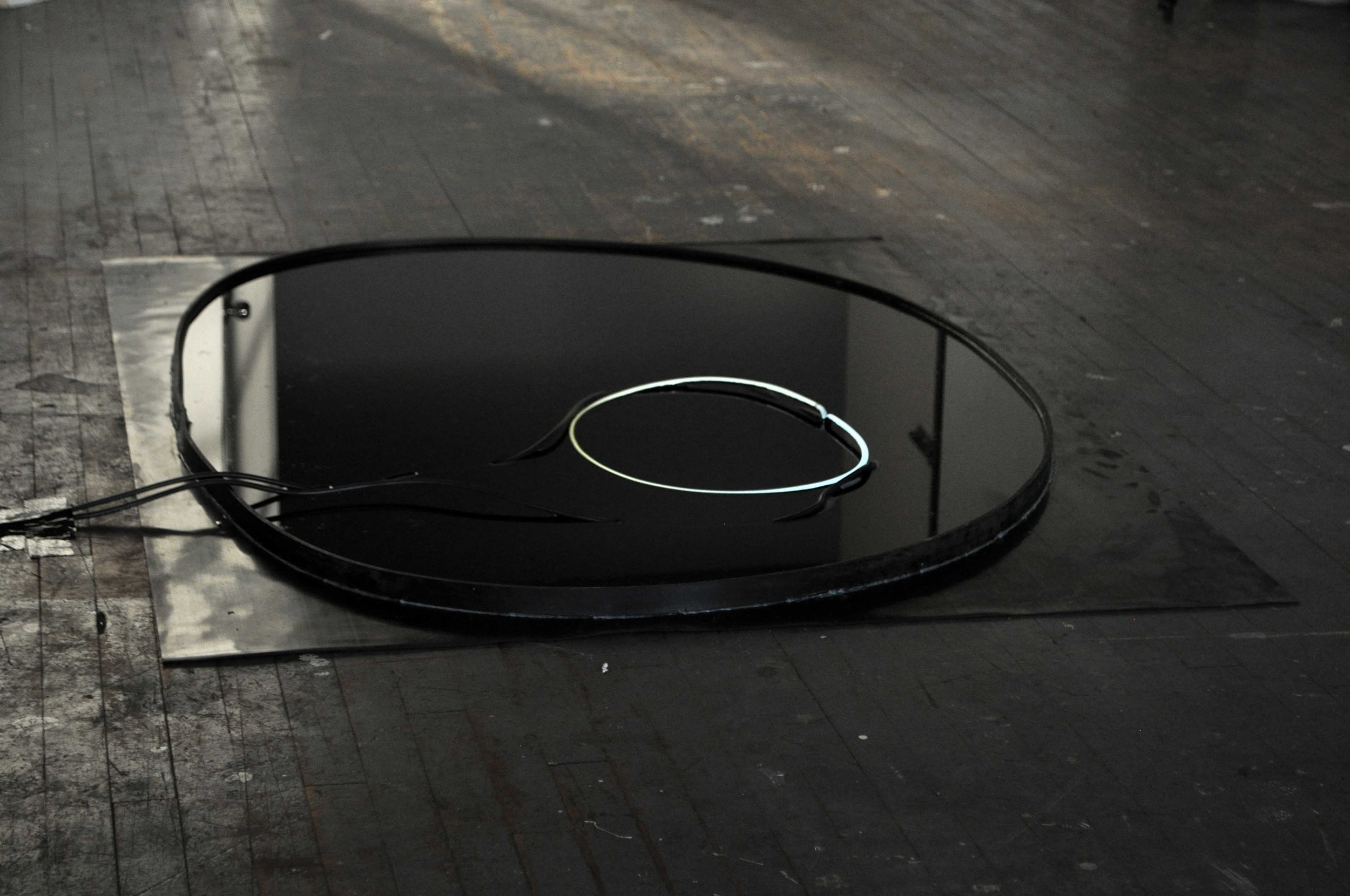 More than half Less than full, 2014 neon, water, rubber, electrical cables 152 x 122 x 5 cm