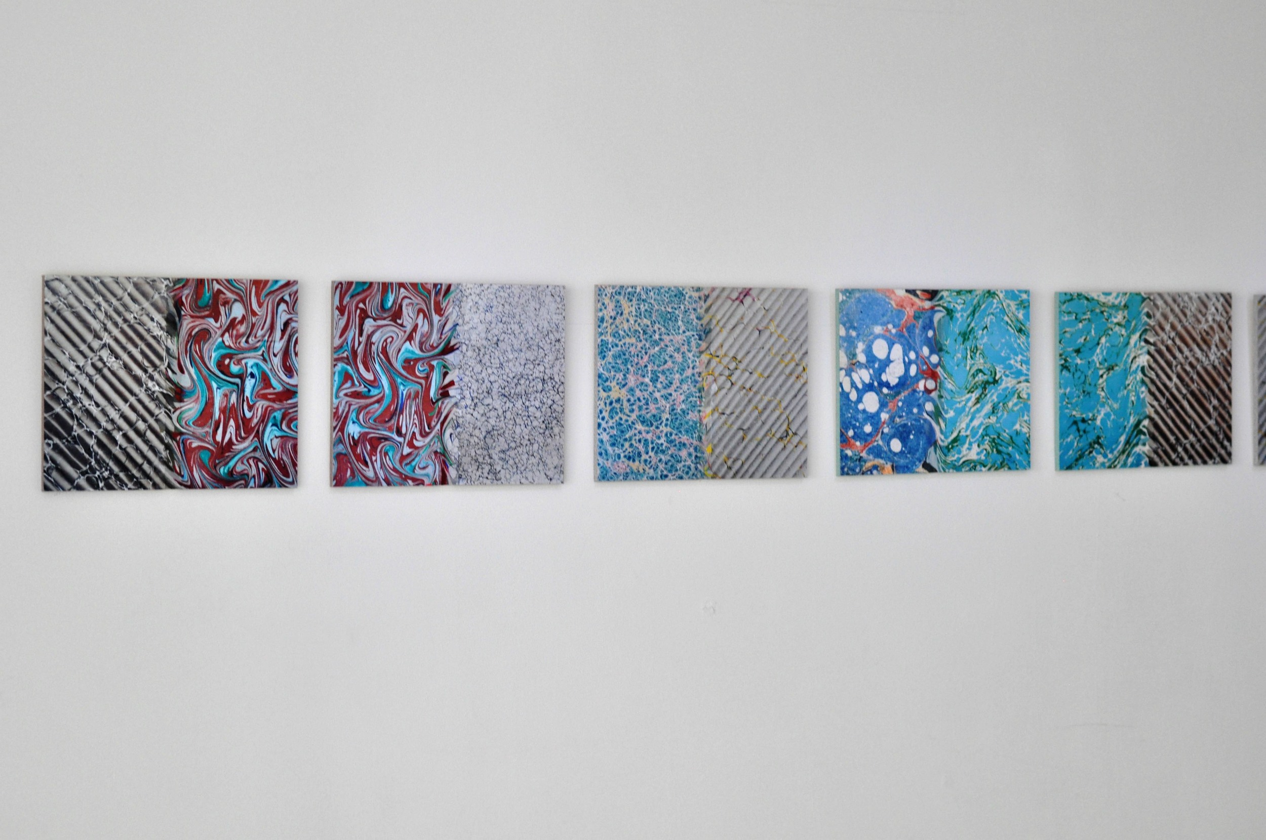 Ecritures , 2015 c-print, oil paint, sand paper on wood,   series of 7  34 x 27 x 1 cm each