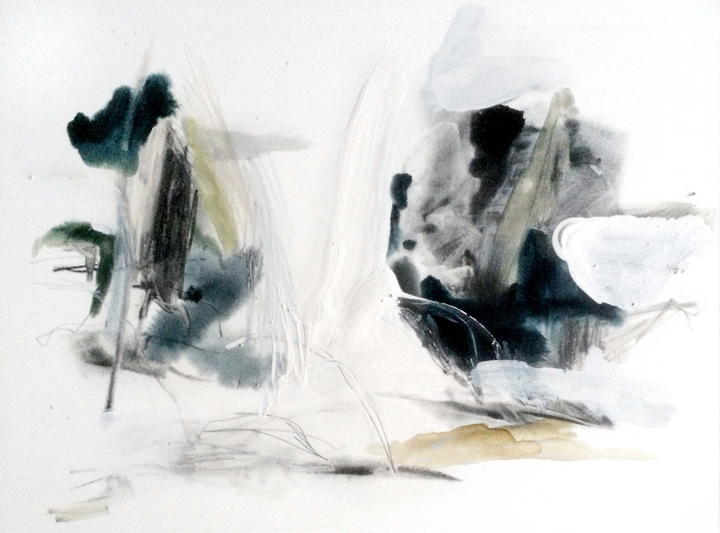 Denature I , 2014 ink, tempera, gouache, graphite, gesso on wood, 41 x 61 cm
