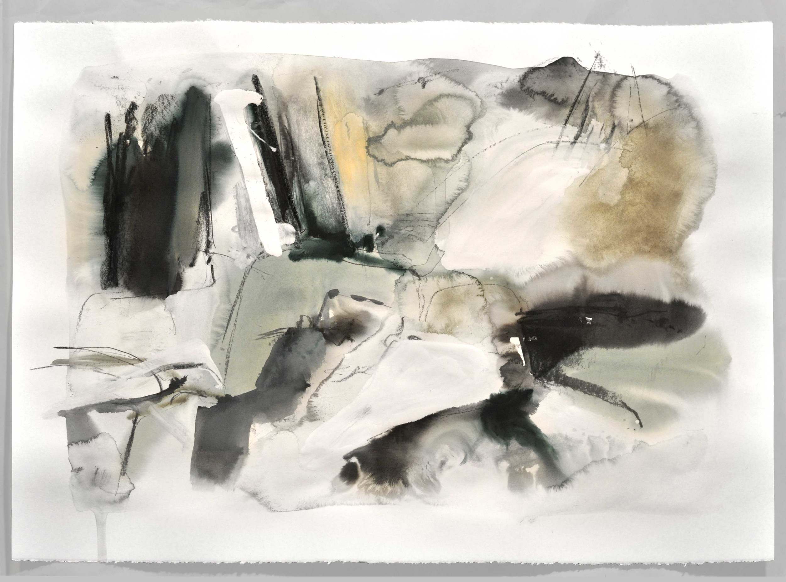 Mont III , 2014 ink, tempera, gouache, charcoal on paper 76 x 56 cm