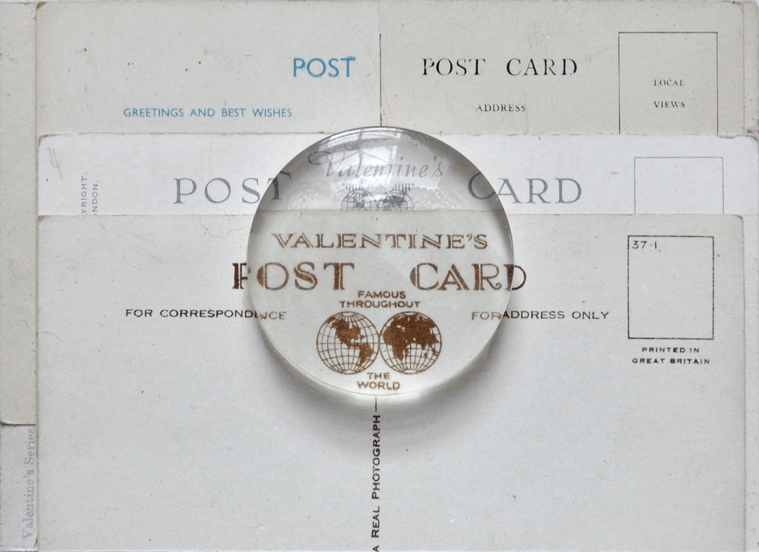 Valentine's Post Card, 1851-1994 , postcard, 2016 collage, found postcard, acrylic lens, cardboard 10,5 x 14,8 cm   private collection