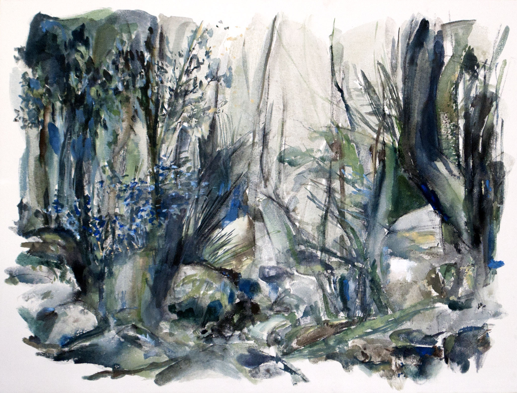 Marais Don Quichotte 1/3, gouache and acrylic on canvas, 76 x 102 cm, 2016