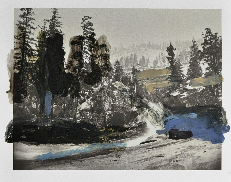 Over Watkins III ,  Cascades between the Vernal and Nevada, Yosemite', 1861, 2015 oil on c-print, after Carleton Watkins   print: 28 x 35 cm ;frame: 46,5 x 39 x 2,5 cm
