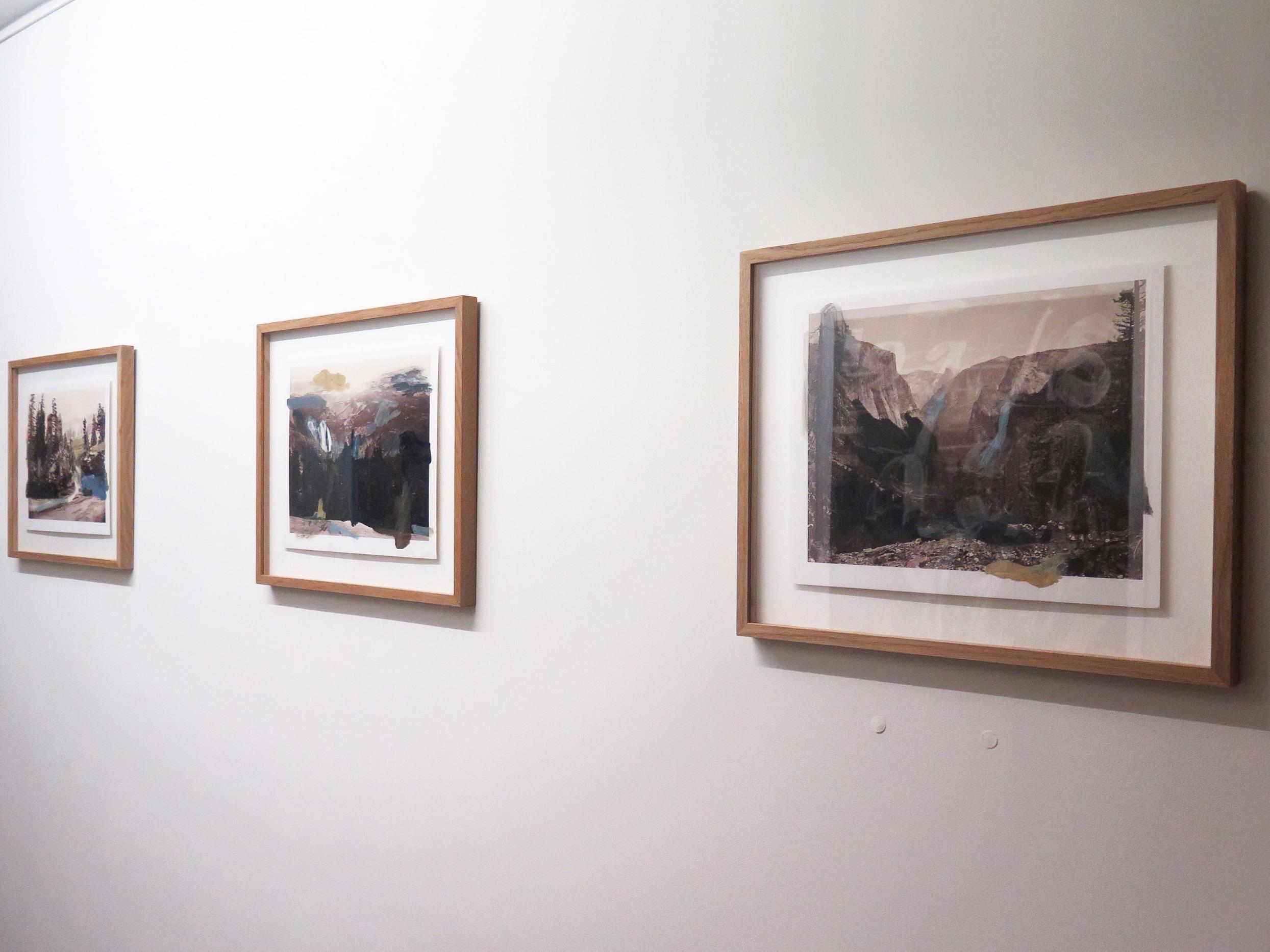 Over Watkins , 2015 oil on c-prints,  after Carleton Watkins  each  print: 28 x 35 cm ;frame: 46,5 x 39 x 2,5 cm