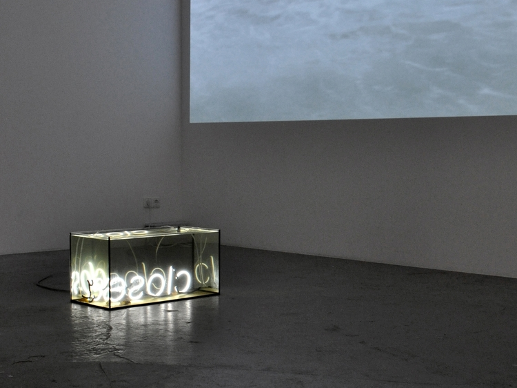 Closer , 2013 underwater neon sculpture, neon, glass, water and leaves from the river Spree 60 x 30 x 30 cm  installation views, Studio Jeppe Hein, Berlin, 2013