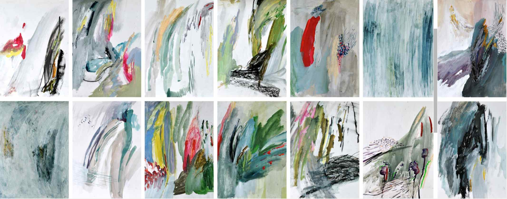 Memories (blue) , 2012 gouache, acrylic, oil paint, oil pastel on paper, series of 14 35 x 45 cm each