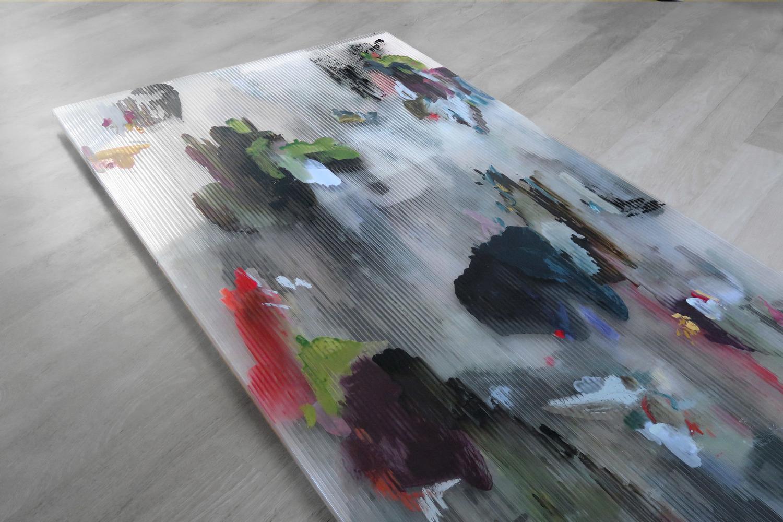 Untitled (Veranda) 1 ,2016 gouache, acrylic ink and oil on polycarbonate panels 200 x 100 x 5 cm
