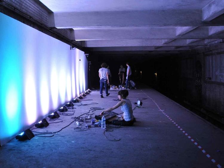 Metroscope  (2010)  p erformance,Saint-Martin, abandoned Paris underground station,Nuit Blanche Paris,2010 lighting, drywall, jumpsuits,lycra, wood dimensions variable