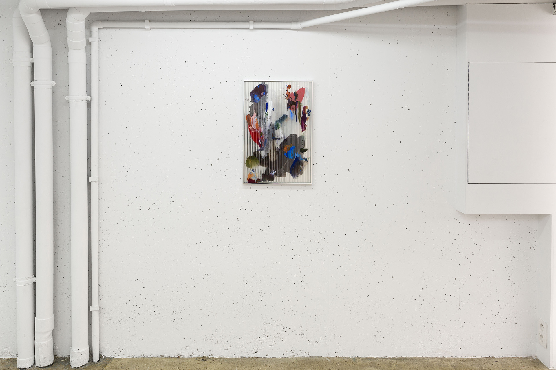 Chaos 2 , 2017 gouache, ink, acrylic, oil, mastic on polycarbonate, mirror, aluminium frame 67 x 44,5 x 2,5 cm  photo © Romain Darnaud