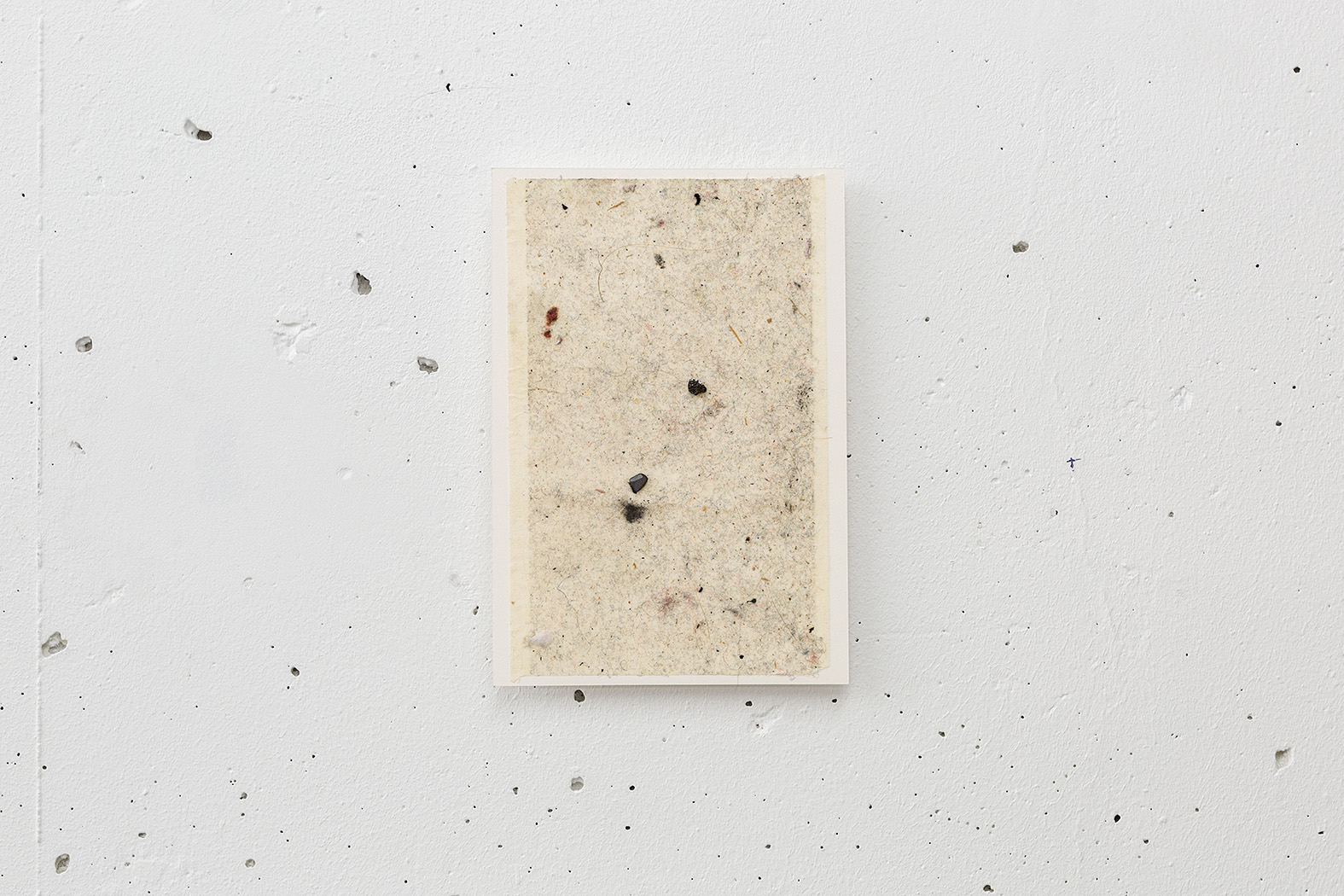 Dust Painting ,2017 dust, hairs,graphite on adhesive, mounted on paper 16 x 11 cm Installation view,  Room without a view , Arnaud Deschin Galerie, Paris, 2017
