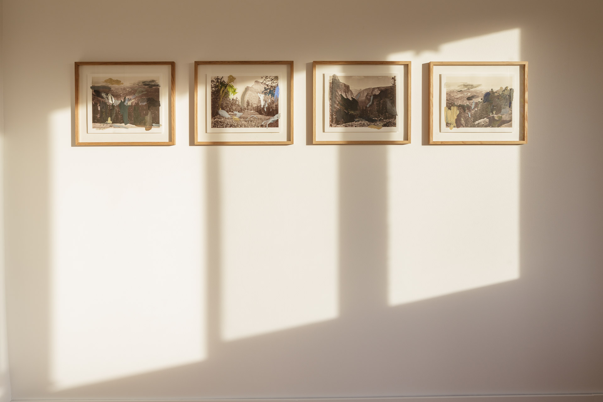 Over Watkins , 2015   After Carleton Watkins  oil, ink, gouache, graphite on print 28 x 35 cm each / oak wooden frame : 39 x 46 x 2,5 cm each    Golden Watkins , 2016   After Carleton Watkins  oil on print 28 x 35 cm / oak wooden frame : 39 x 46 x 2,5 cm  installation view,  Nuits Américaines , Maison de Chateaubriand, Châtenay-Malabry, 2017-2018   photo : Alexandre Lebrun