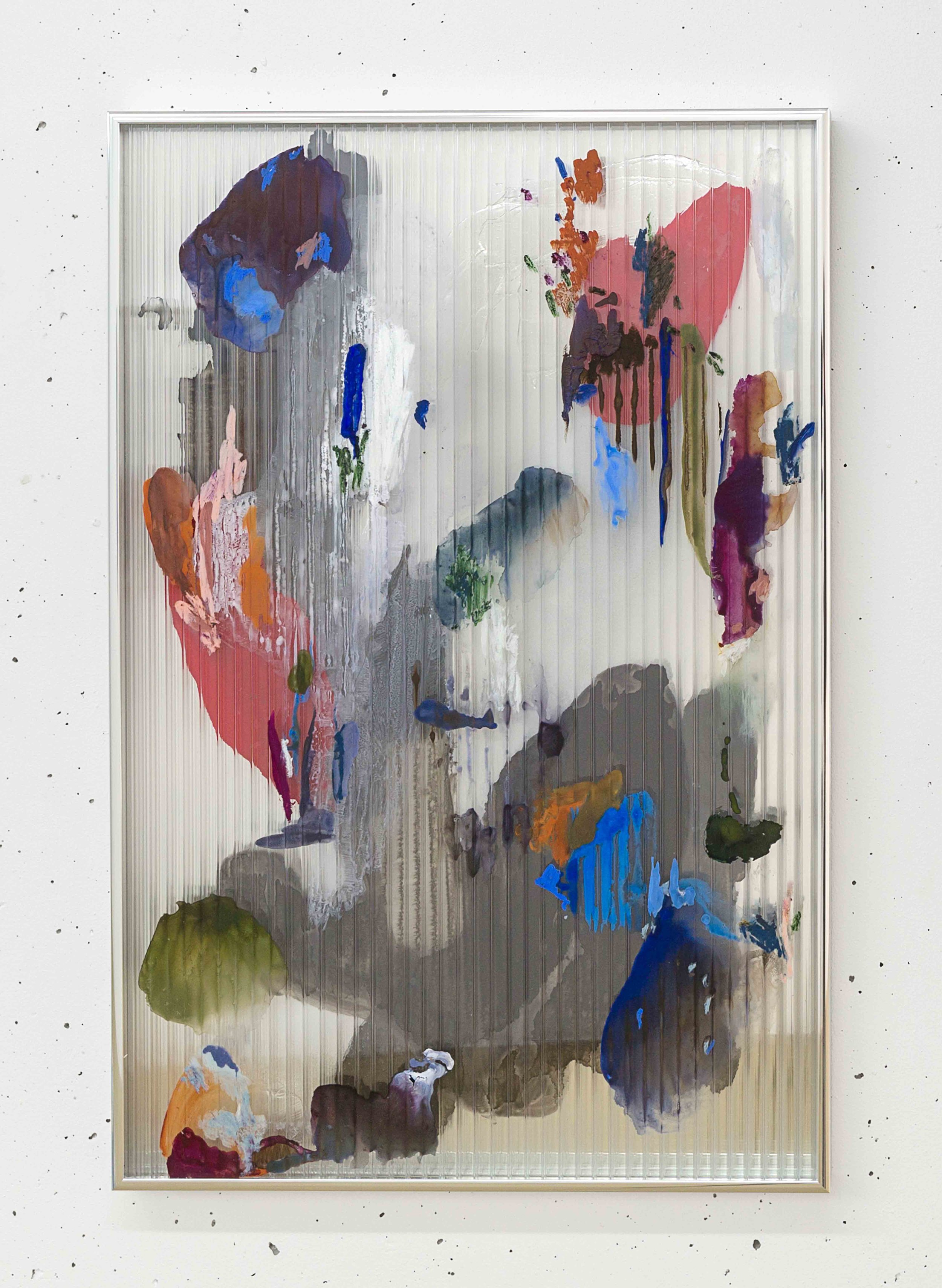 Chaos 2 , 2017 gouache, ink, acrylic, oil, mastic on polycarbonate, mirror, aluminium frame 67 x 44,5 x 2,5 cm  photo © Romain Darnaud    private collection