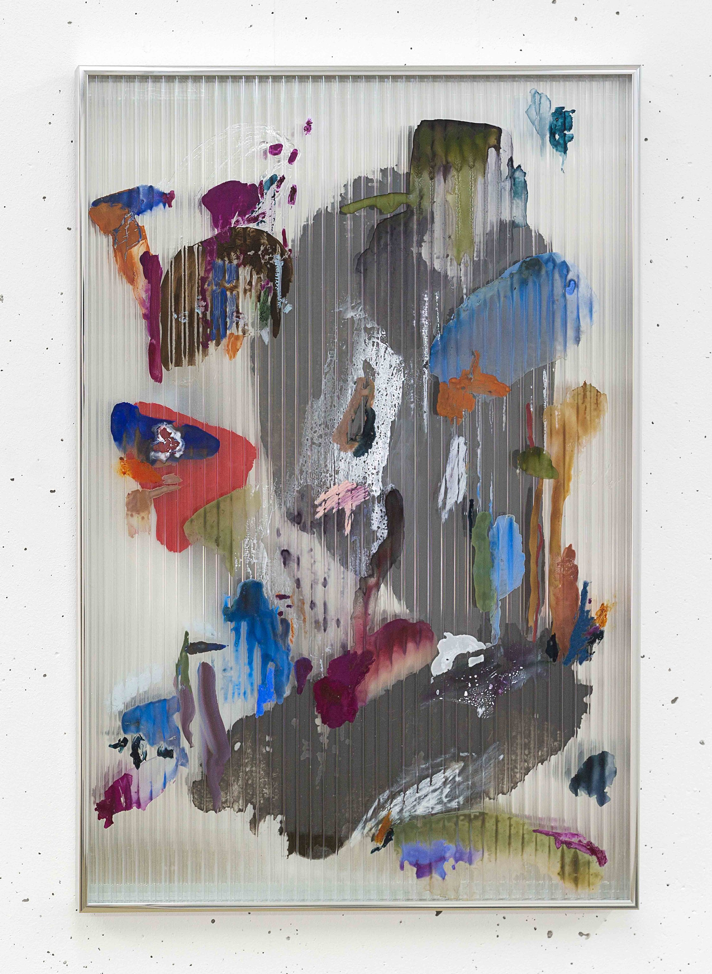 Chaos 1 , 2017 gouache, ink, acrylic, oil, mastic on polycarbonate, mirror, aluminium frame 67 x 44,5 x 2,5 cm  photo © Romain Darnaud