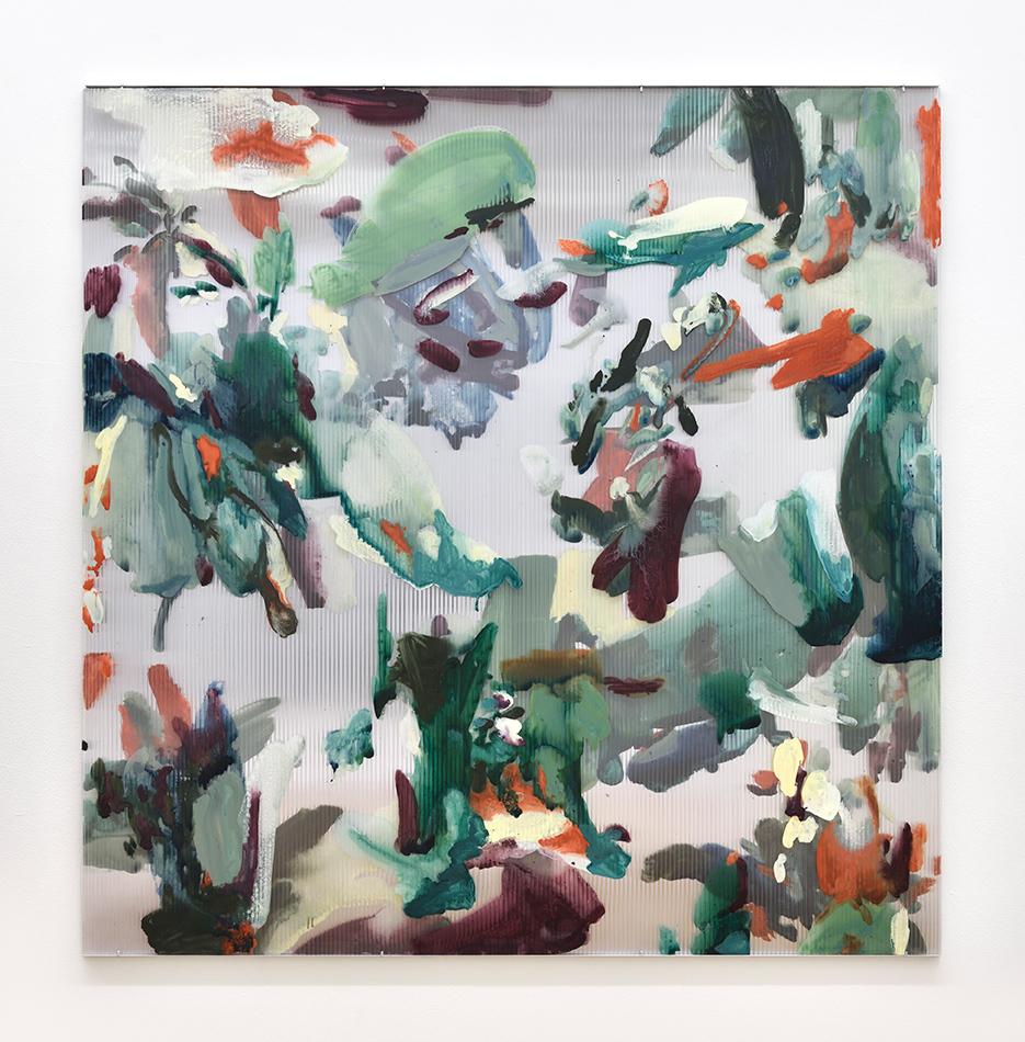 Untitled (Veranda),  2016-2019 gouache, ink, oil on polycarbonate, acrylic mirror 120 x 120 cm  © Rebecca Fanuele   private collection