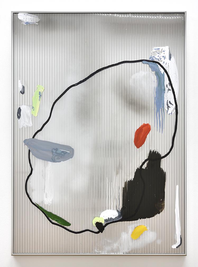 Untitled (Ring) II,  2018 gouache, ink, marker, oil, aérosol on polycarbonate, two-way mirror 105 x 75 cm  © Rebecca Fanuele