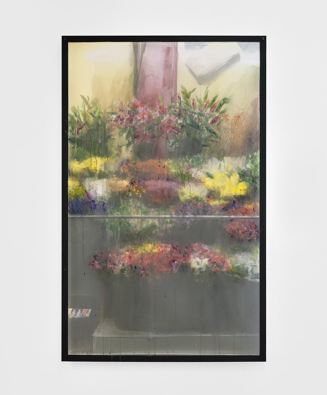 Deli Window I,  2019 gouache and watercolour on printed veil, dibond 126,5 x 79 cm  © Rebecca Fanuele