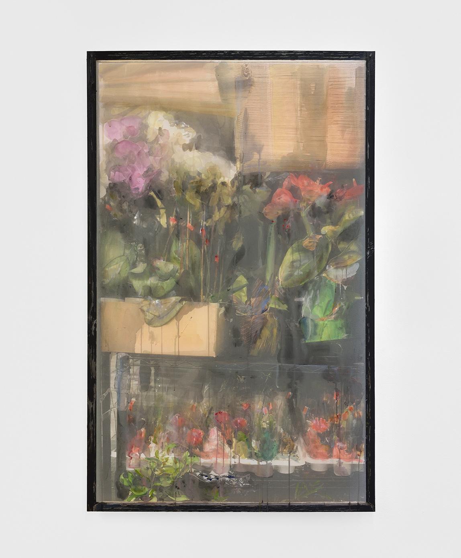 Deli Window II,  2019 gouache and watercolour on printed veil, dibond 126,5 x 79 cm  © Rebecca Fanuele