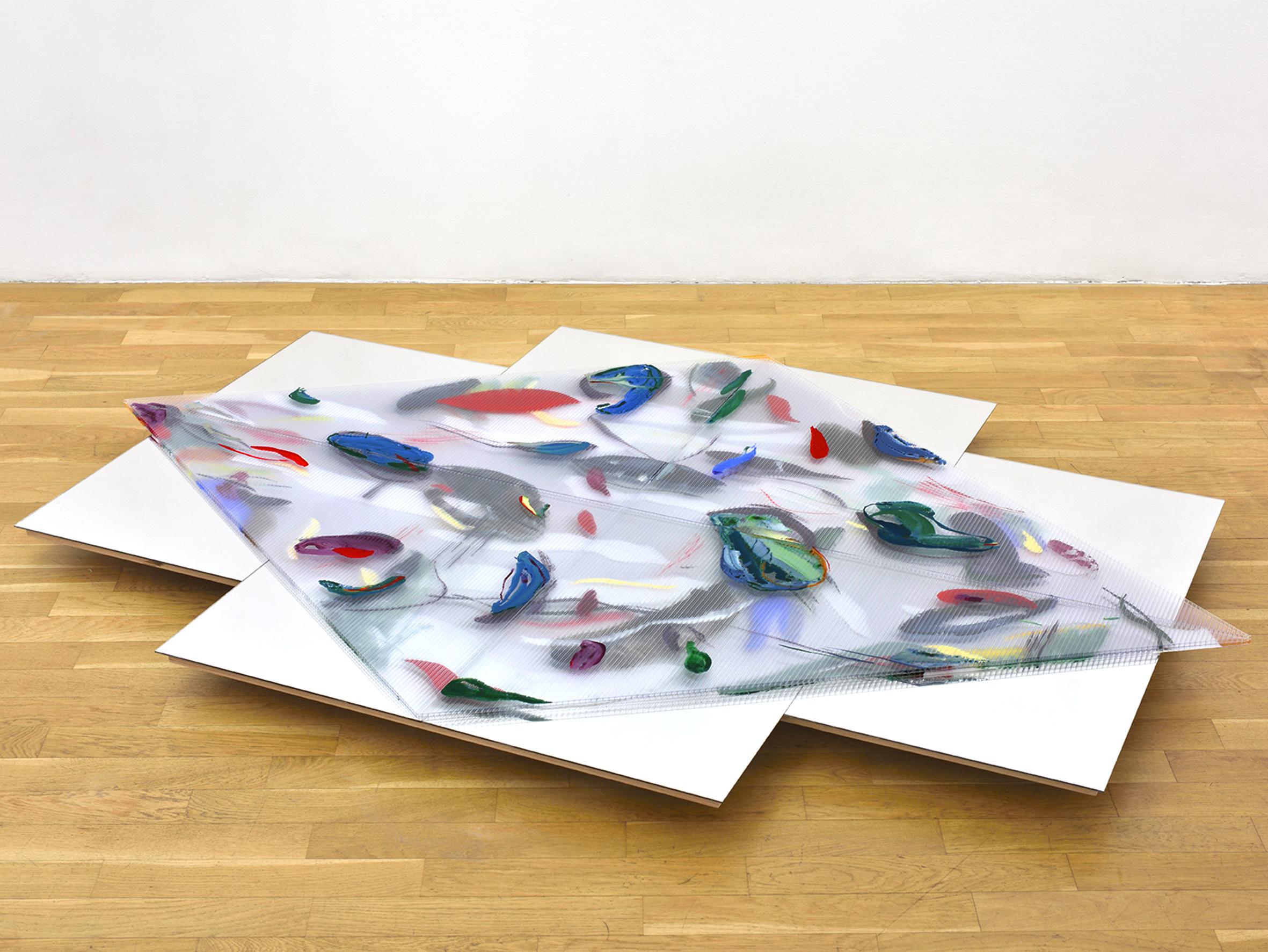 Untitled (Riverbed) , 2019 gouache, ink, gesso on polycarbonate, acrylic mirror, wood, wheels 183 x 119,5 x 9 cm  © Rebecca Fanuele