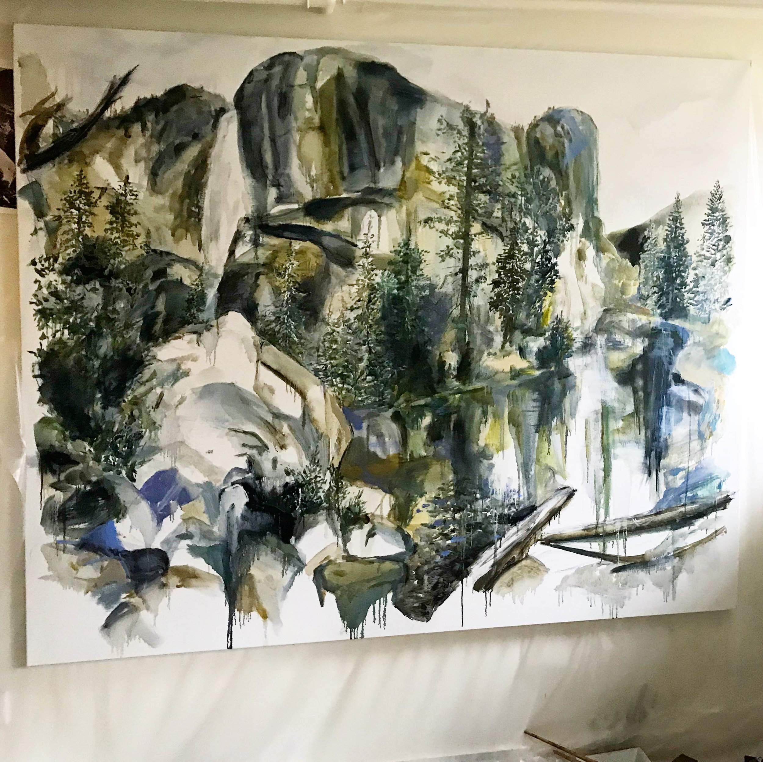 Wind, Water, Rocks II , 2018 after Carleton Watkins oil on canvas 150 x 180 cm  studio view