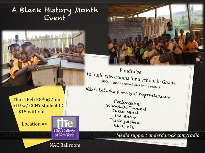 Classrooms for Ghana  kickoff fundraiser event flyer  Below is the note explaining why the event was held and who helped make it possible.