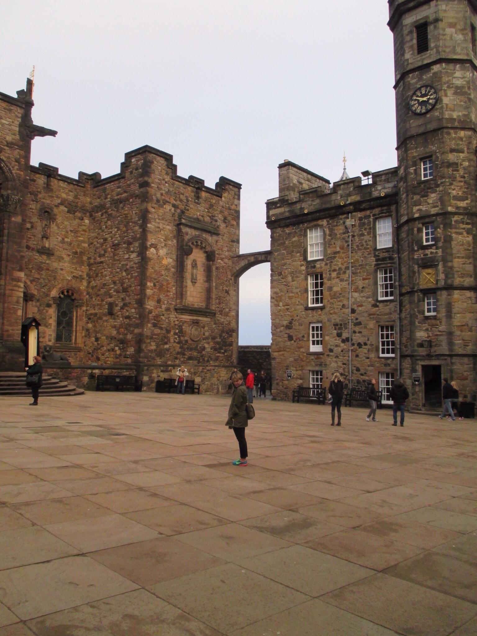 Samantha in the central square of Edinburgh Castle