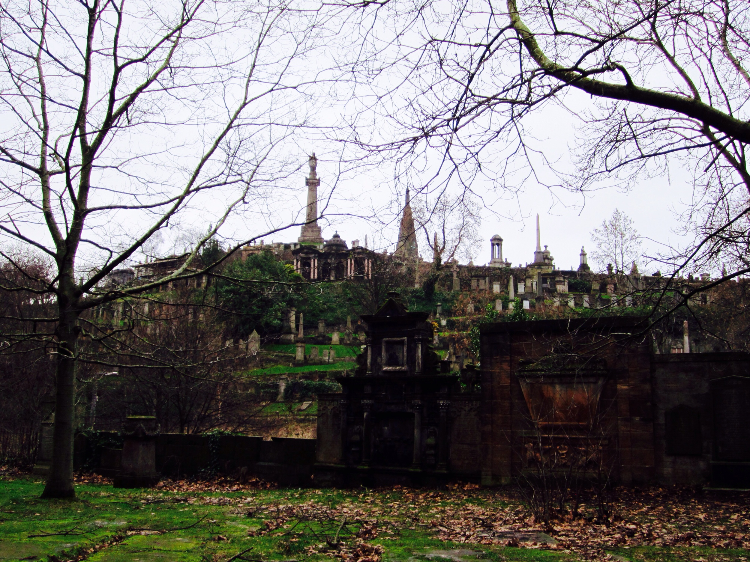 The Glasgow Necropolis is a Victorian garden cemetery adjacent to the cathedral.