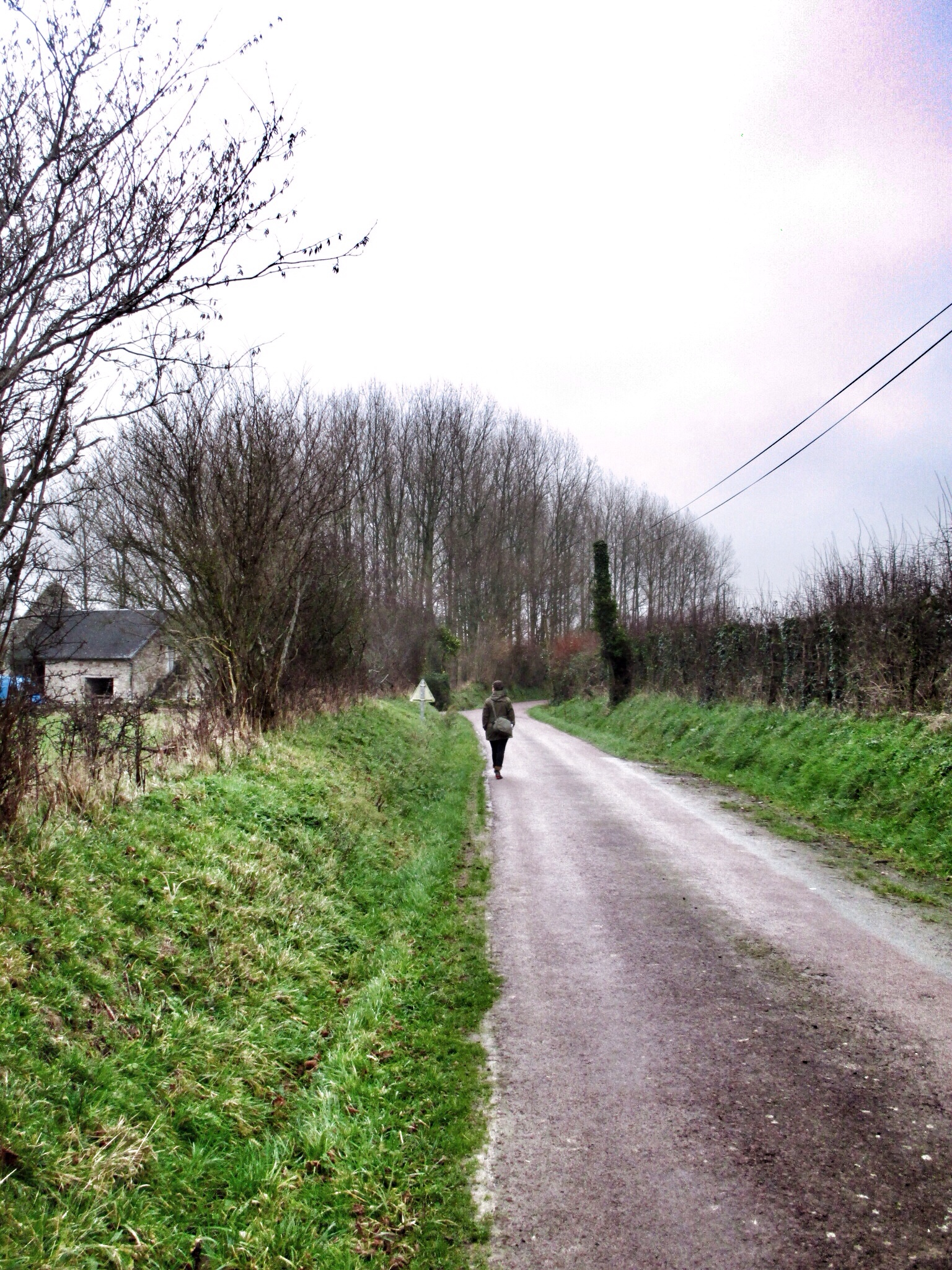 Short country walk in between bands of rain this weekend. This road connects the bed and breakfast to the town.