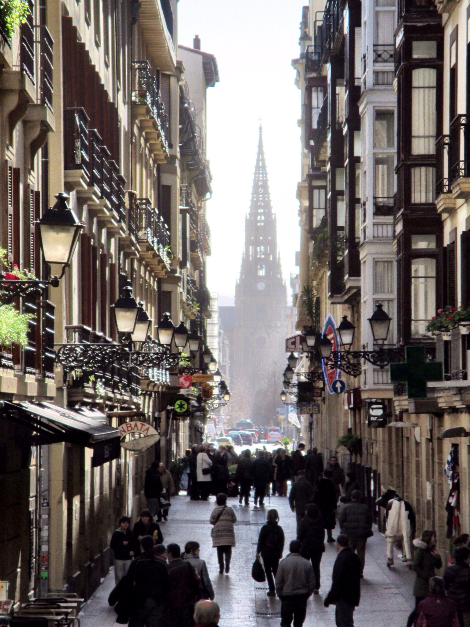 View down one of the streets in San Sebastián's Old Town
