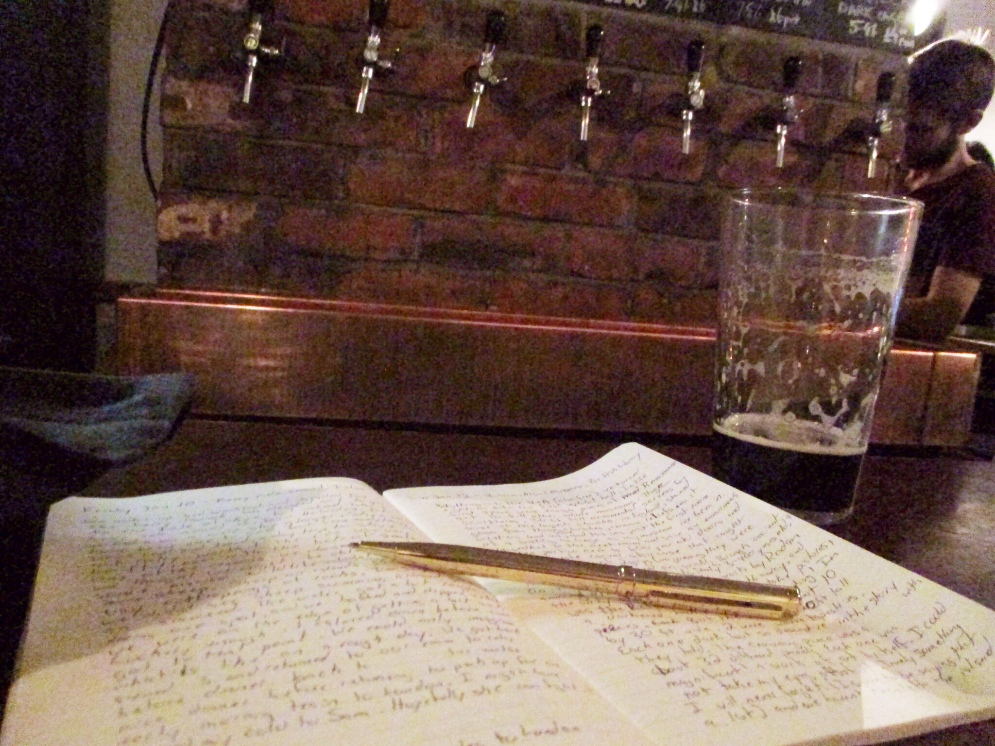 Jotting down some thoughts at the Holborn Whippet with a cold pint after a day spent exploring London.