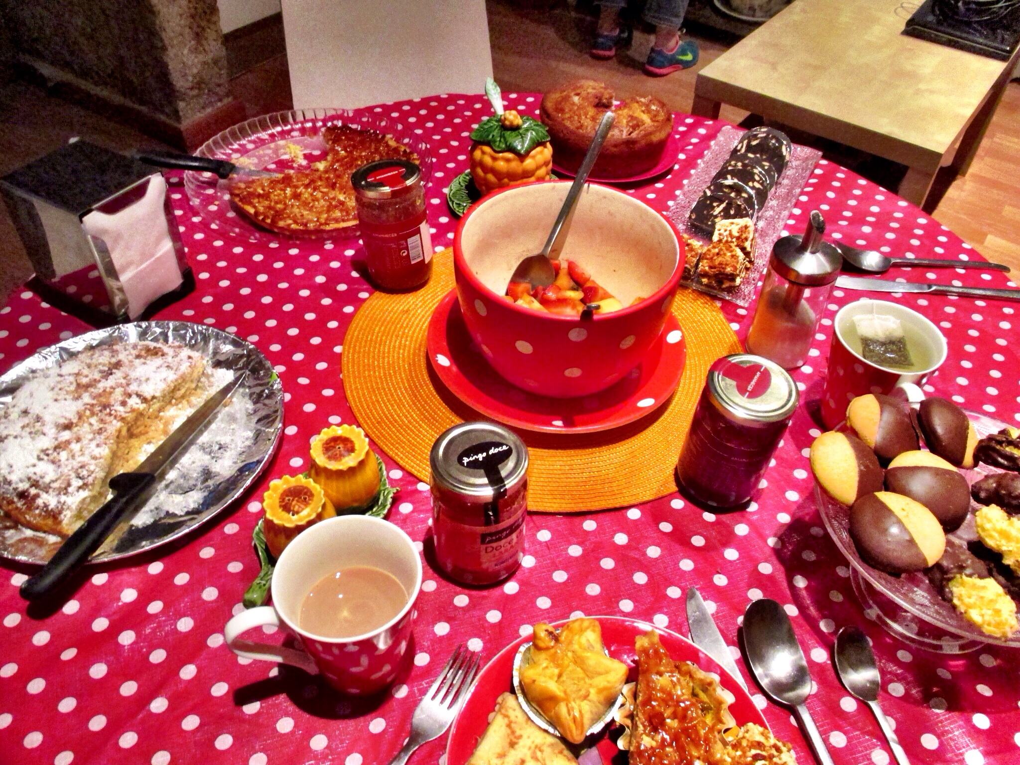 Just a tiny portion of the delicacies on Paula's breakfast table at Pensao Royal in Lisbon