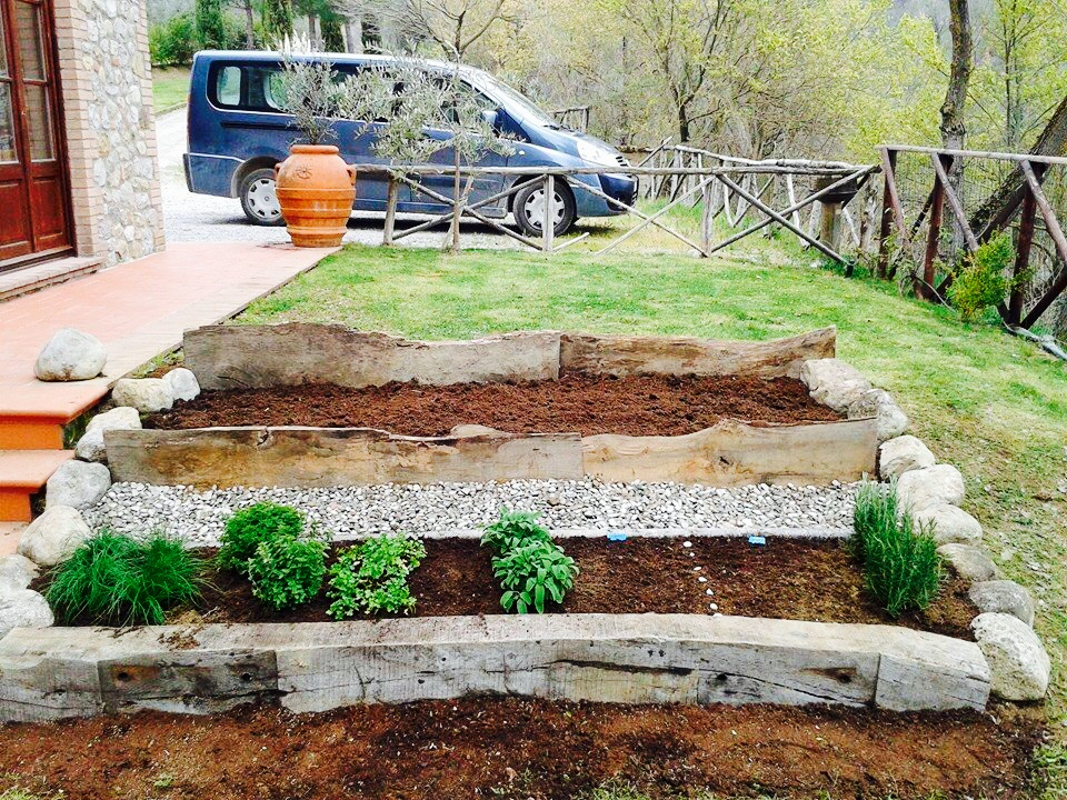 What started as a grassy hill was transformed into a small herb garden in just a few hours.