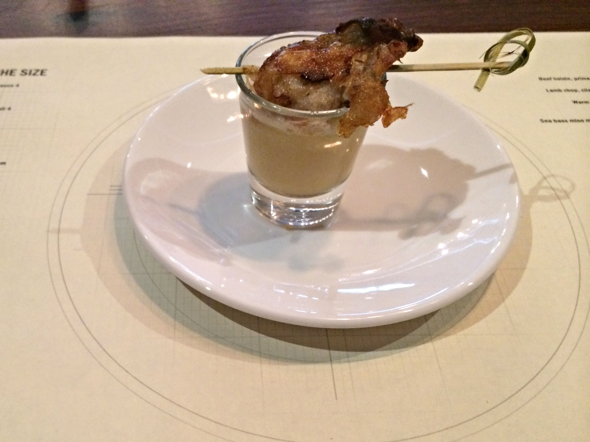 Fried oyster with dashi sauce at Workshop Minneapolis