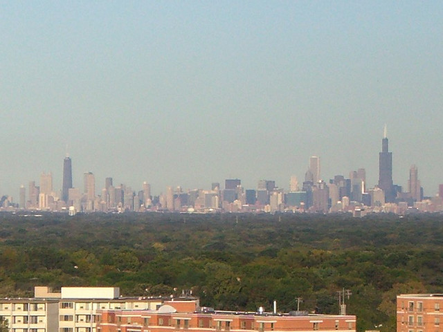 The great city of Chicago seen from the suburbs 15 miles away.
