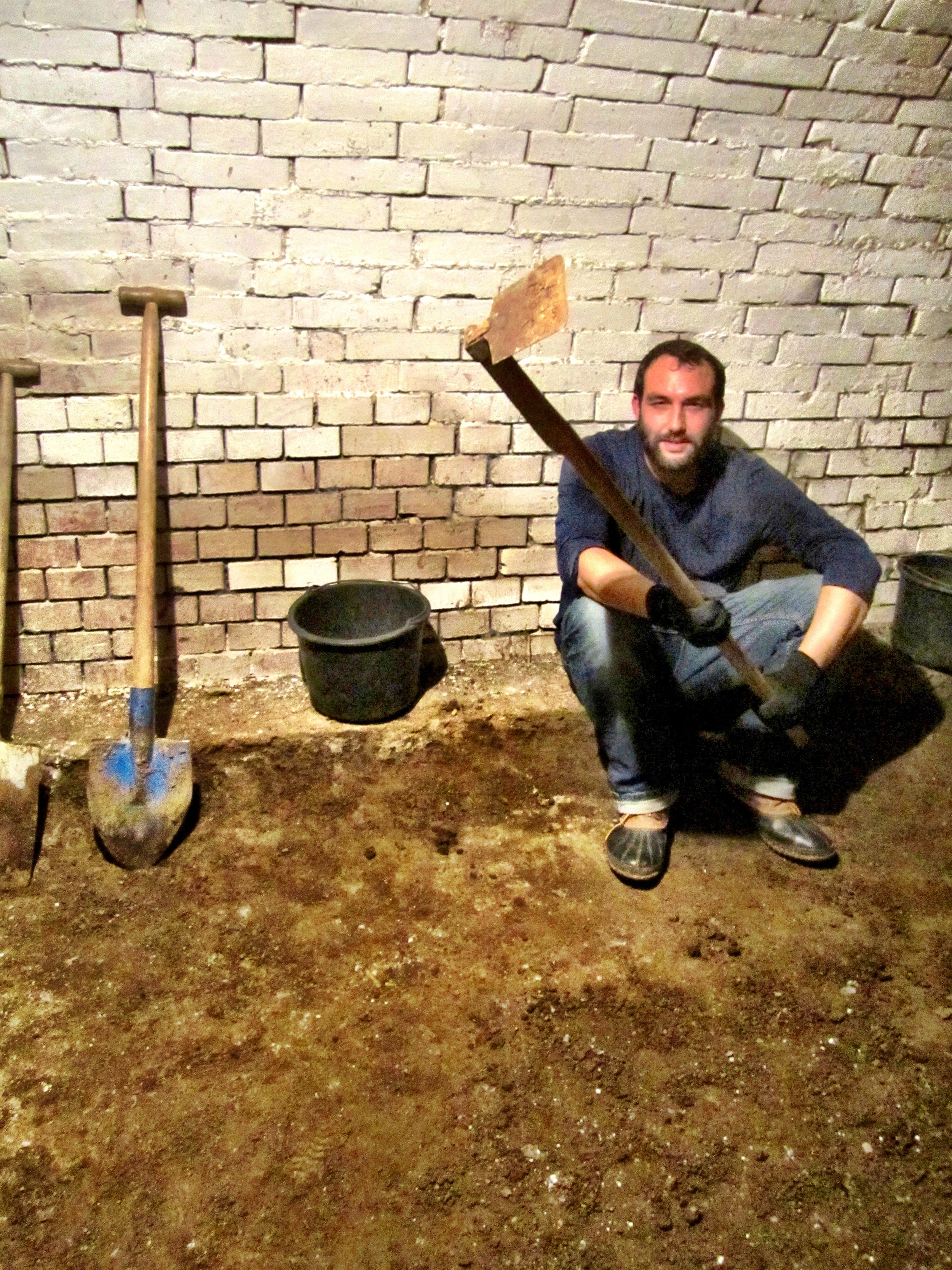 The man and his tools - Bill breaking from digging out the new cellar floor