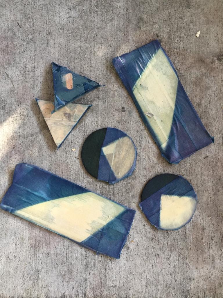indigo dyed itajime shibori blocks