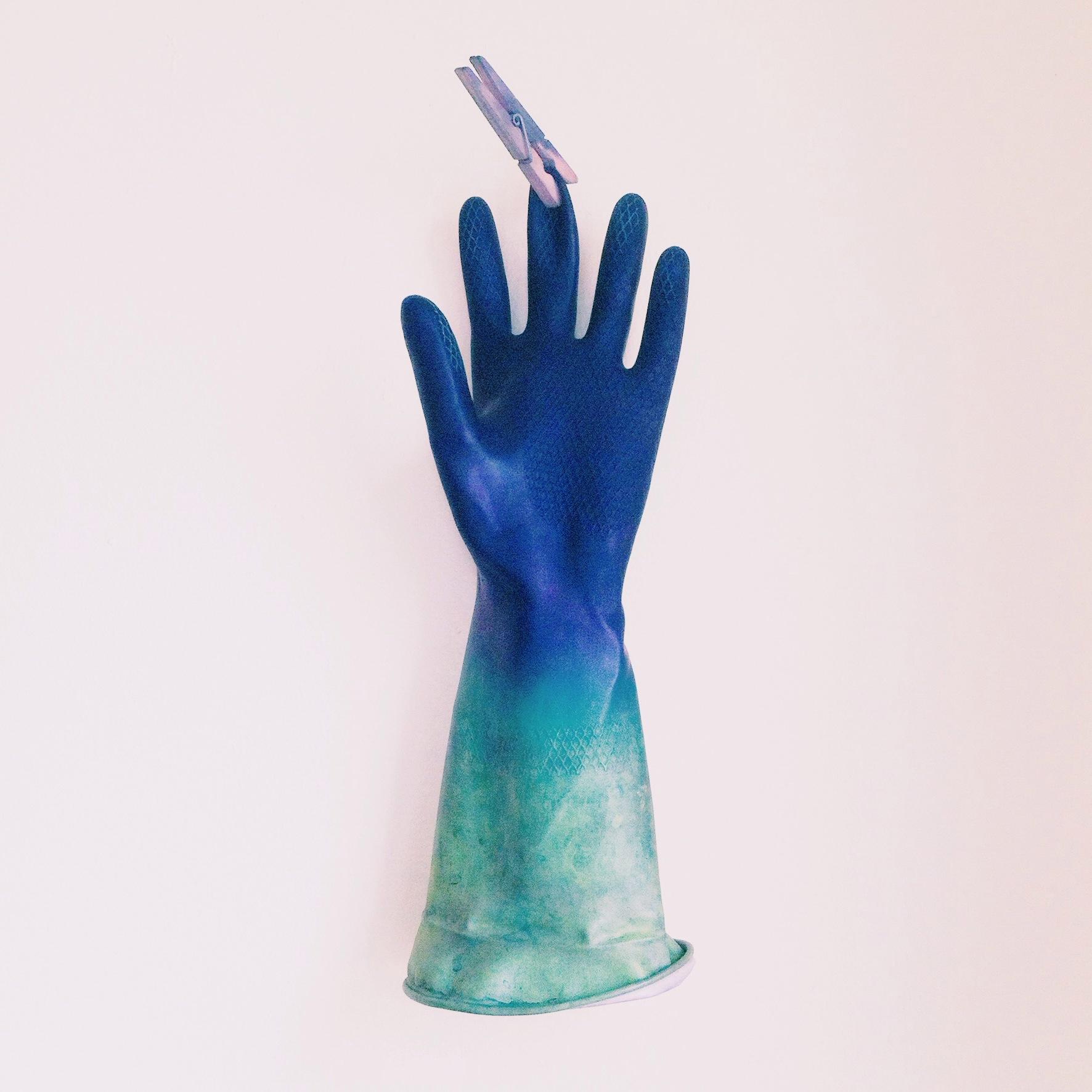 indigo ombre dyed glove