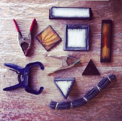 chestnut & iron dyed linen, itajime blocks & clamps