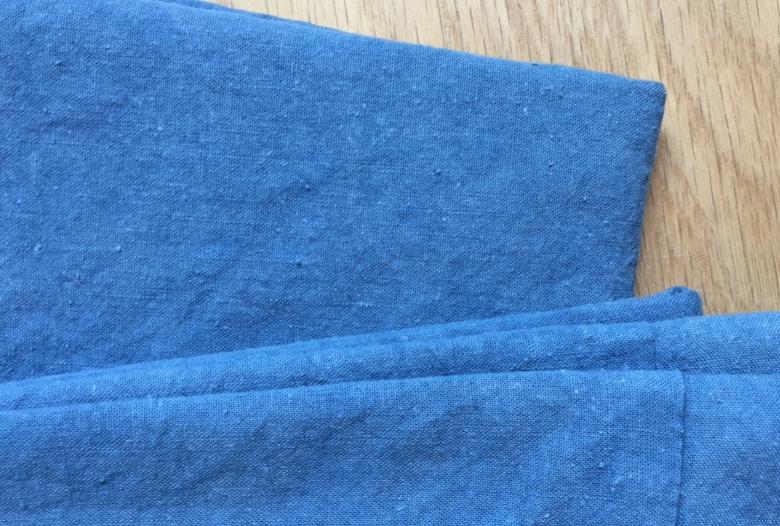 I love the way the indigo dye accentuates the lovely texture of this simple yet beautiful organic cotton/hemp muslin.