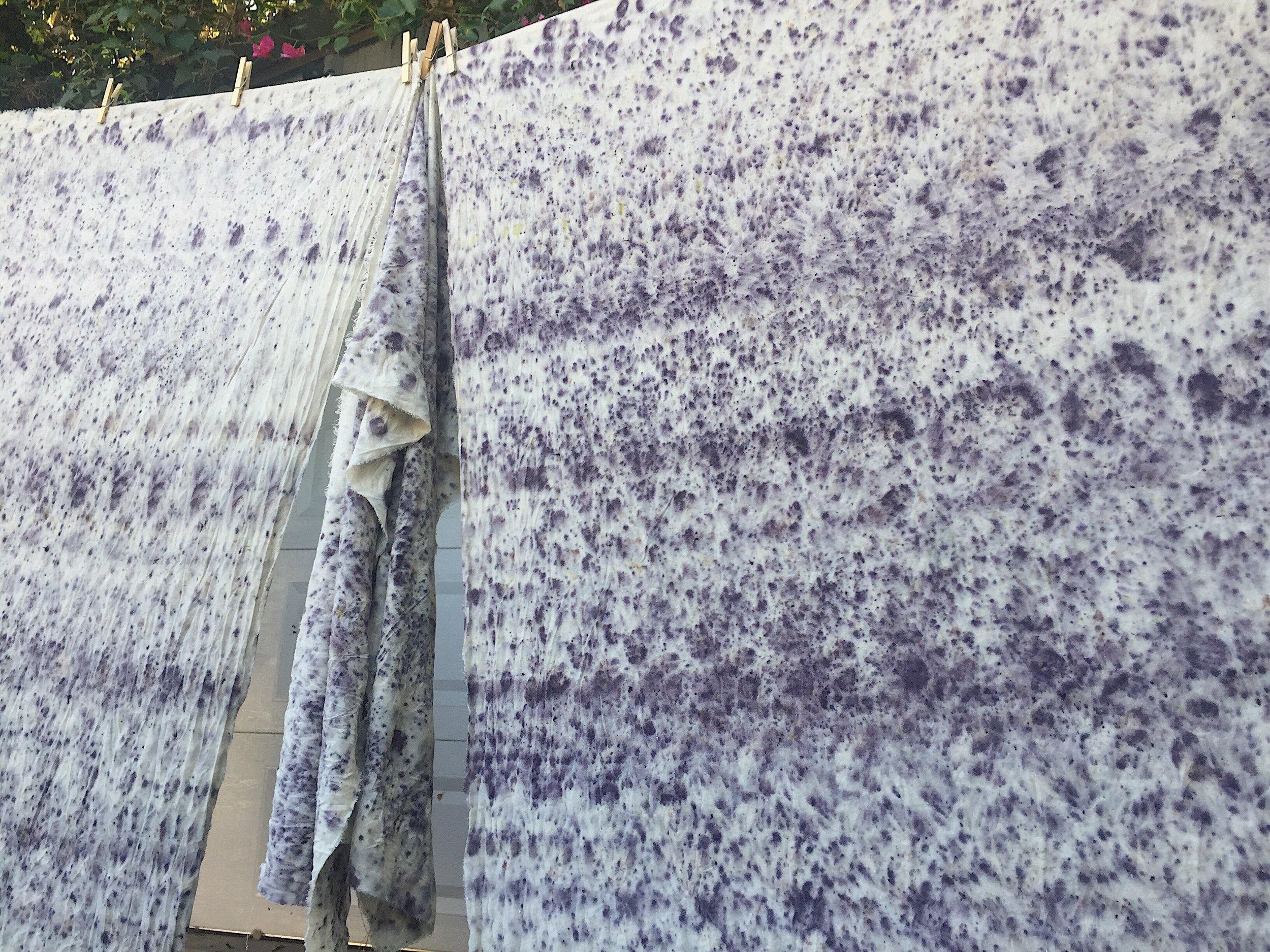 Pincushion flower bundle dyed raw silk