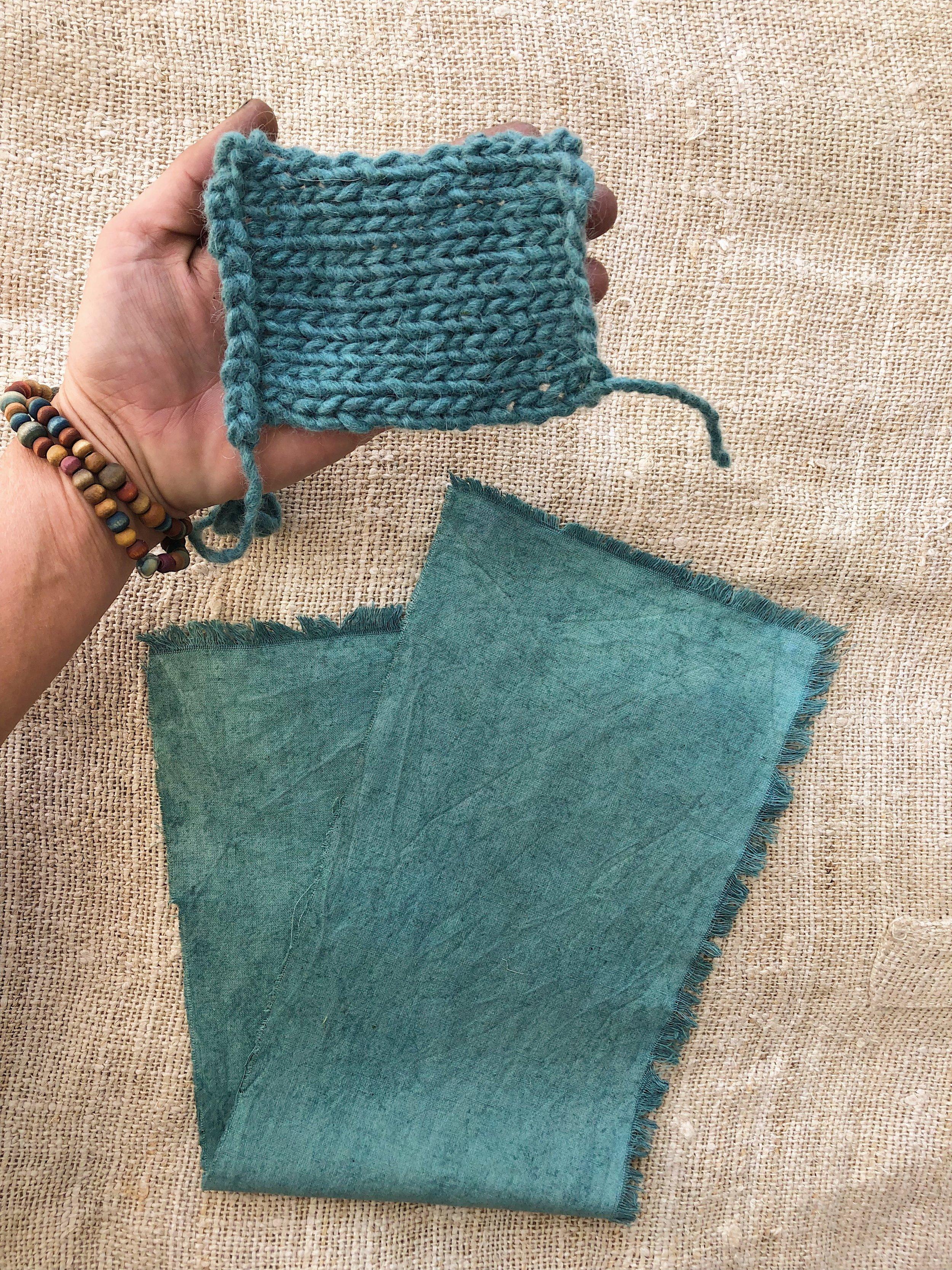 dried resulting colors of fresh leaf indigo salt rub on soymilk cured wool yarn & hemp/organic cotton muslin