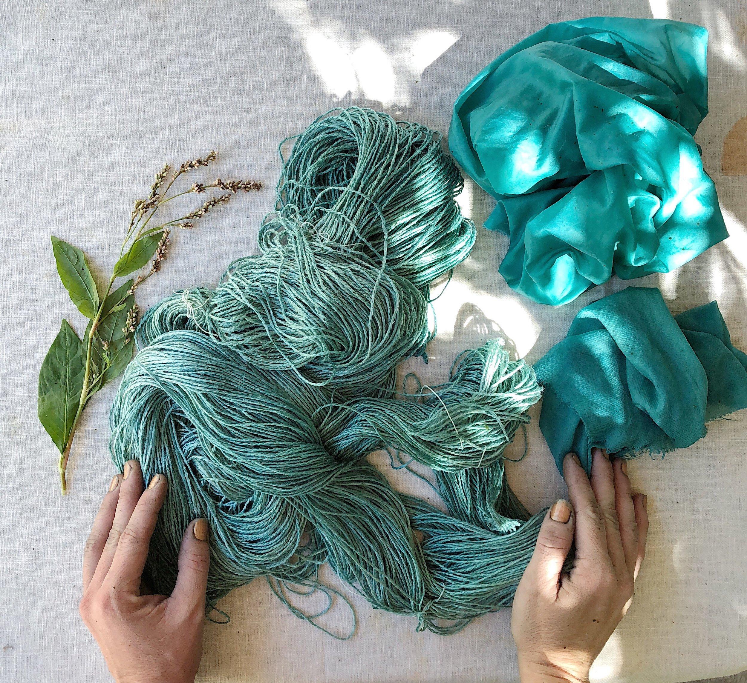 garden hands, fresh leaf indigo dye on silk yarn & fabric from my garden in october 2018