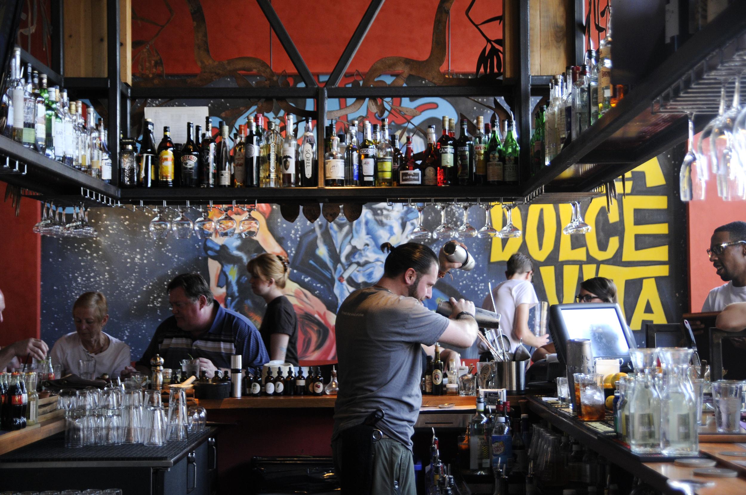 The bar at Extra Virgin