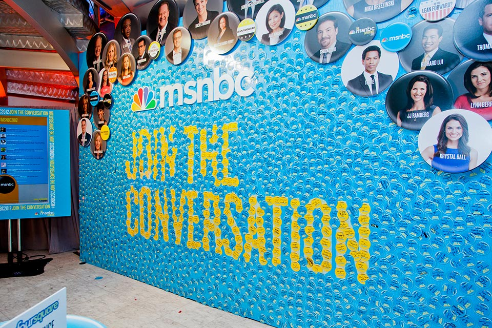 The interactive Conversation wall was constructed with a magnetic surface so that attendees could customize magnetic buttons.