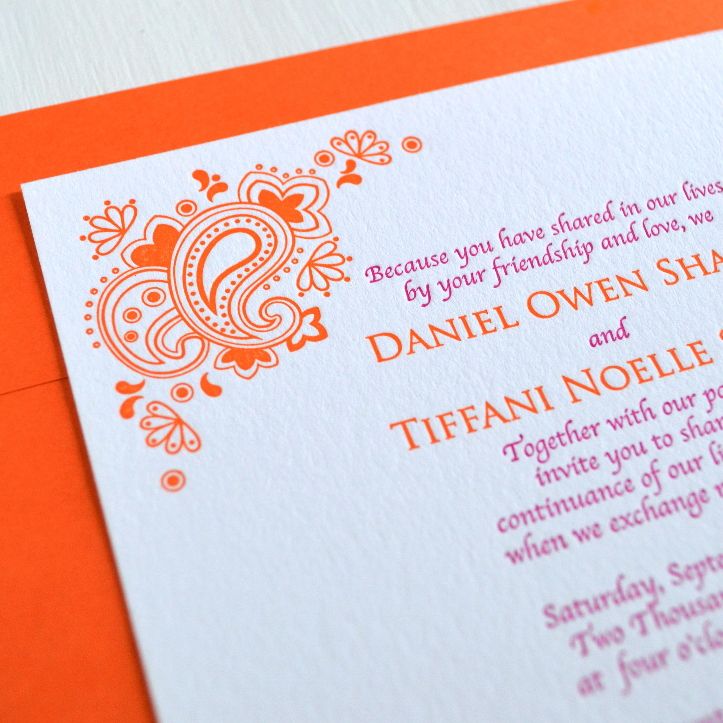 orange & pink letterpress wedding invitation 3.jpg