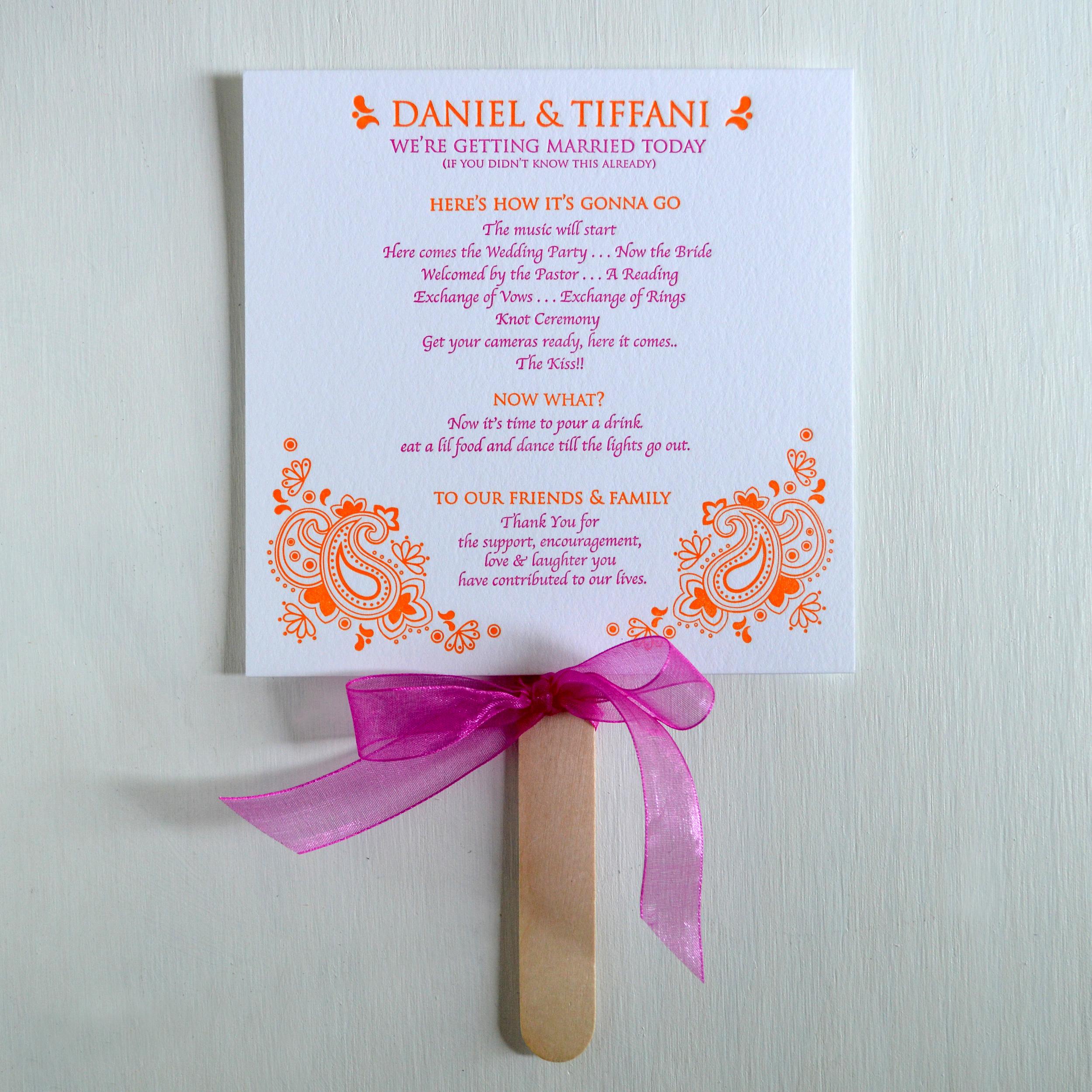 orange & pink letterpress program fan.jpg