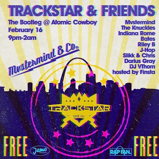 "🚨NEW SHOW ALERT 🚨 . . .  We're kicking off @atomiccowboylive 's ""Free Week Festival"" with the legendary @trackstarthedj & Friends baby. One massive free concert that Rap Fan & Mvstermind & co Curated with the fam loaded on deck. All for the FREE NINETY  A special Pre-Game event will be announced as well. . . . #mvstermind #spotifyplaylist #redbull #djtrackstar #saintLouisEvents #4handsbrewing #redbullmusic #MVCO"