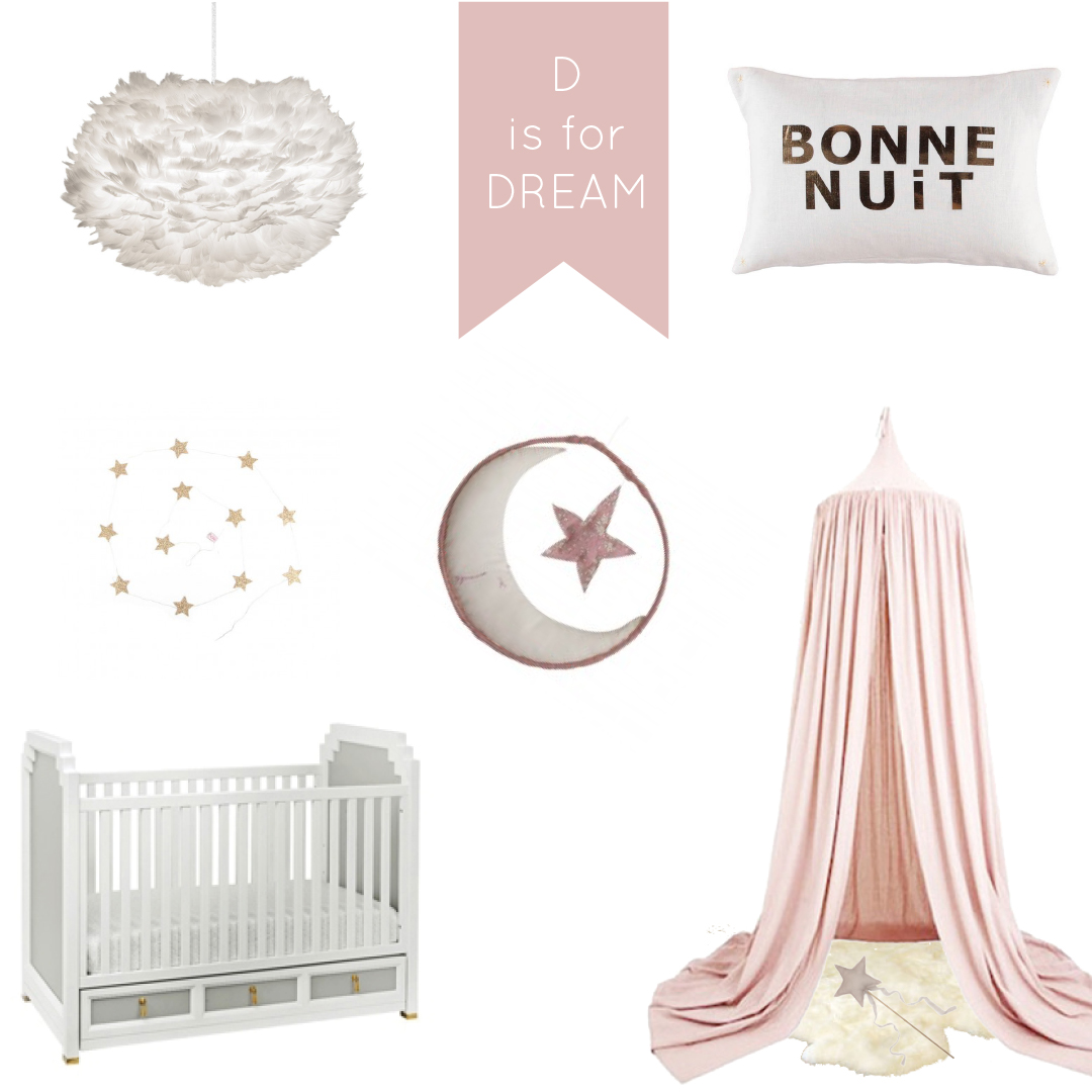 D is for DREAM design board by WINTER DAISY interiors for children